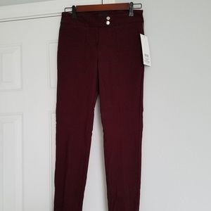 NWT Dark Red Slim Ankle Pants Size 2